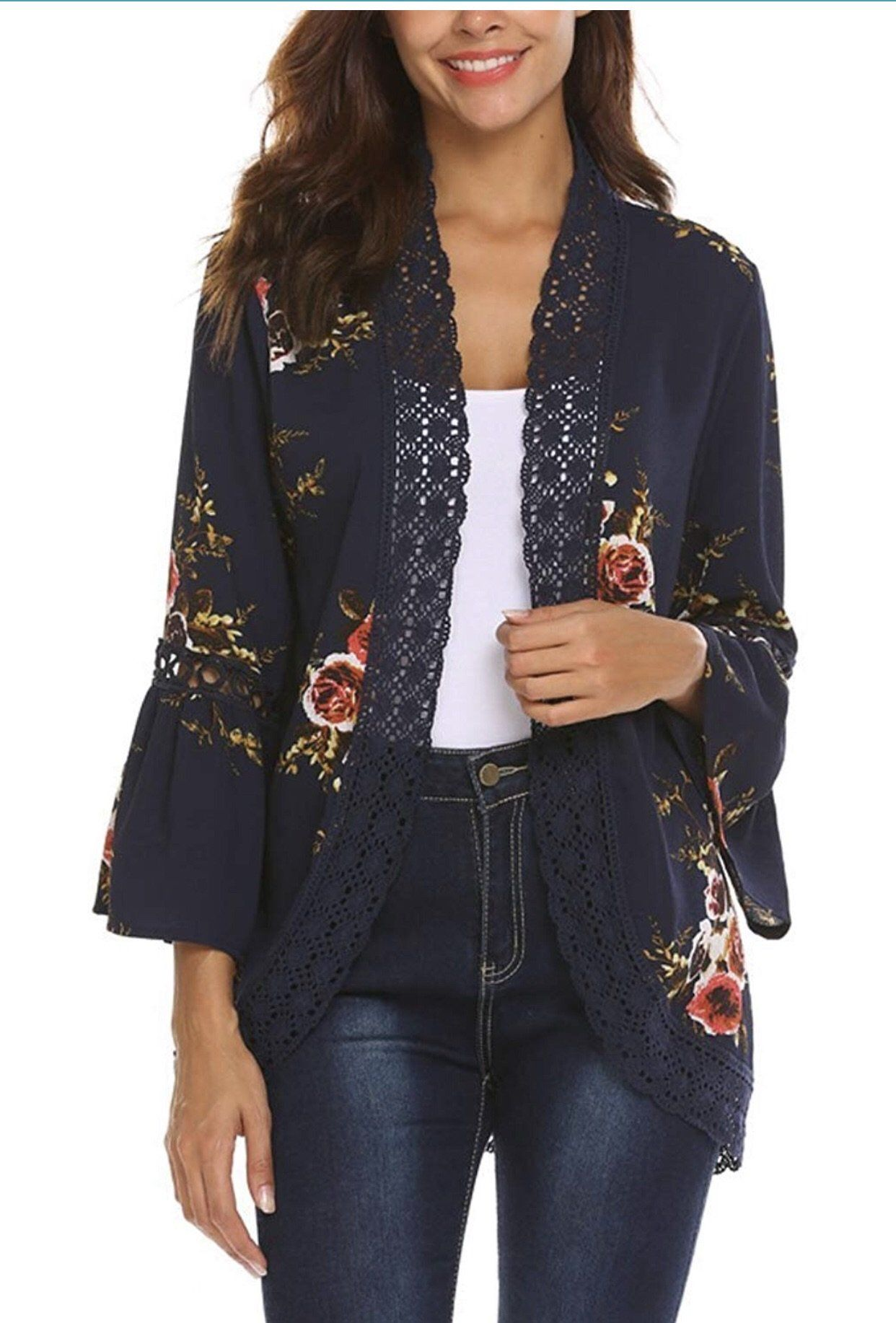e05ebd95ef Navy Floral Kimono with Bell Sleeves in 2019