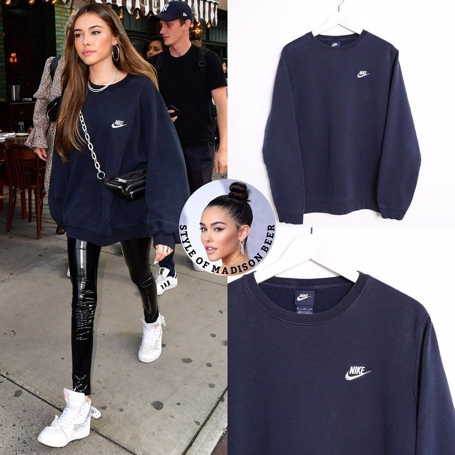 Madison Beer S Closet On Instagram May 10 2019 Madisonbeer Outside Of Her Hotel In Nyc M Blue Sweatshirt Outfit Navy Sweatshirt Outfit Nike Sweatshirts [ 900 x 900 Pixel ]