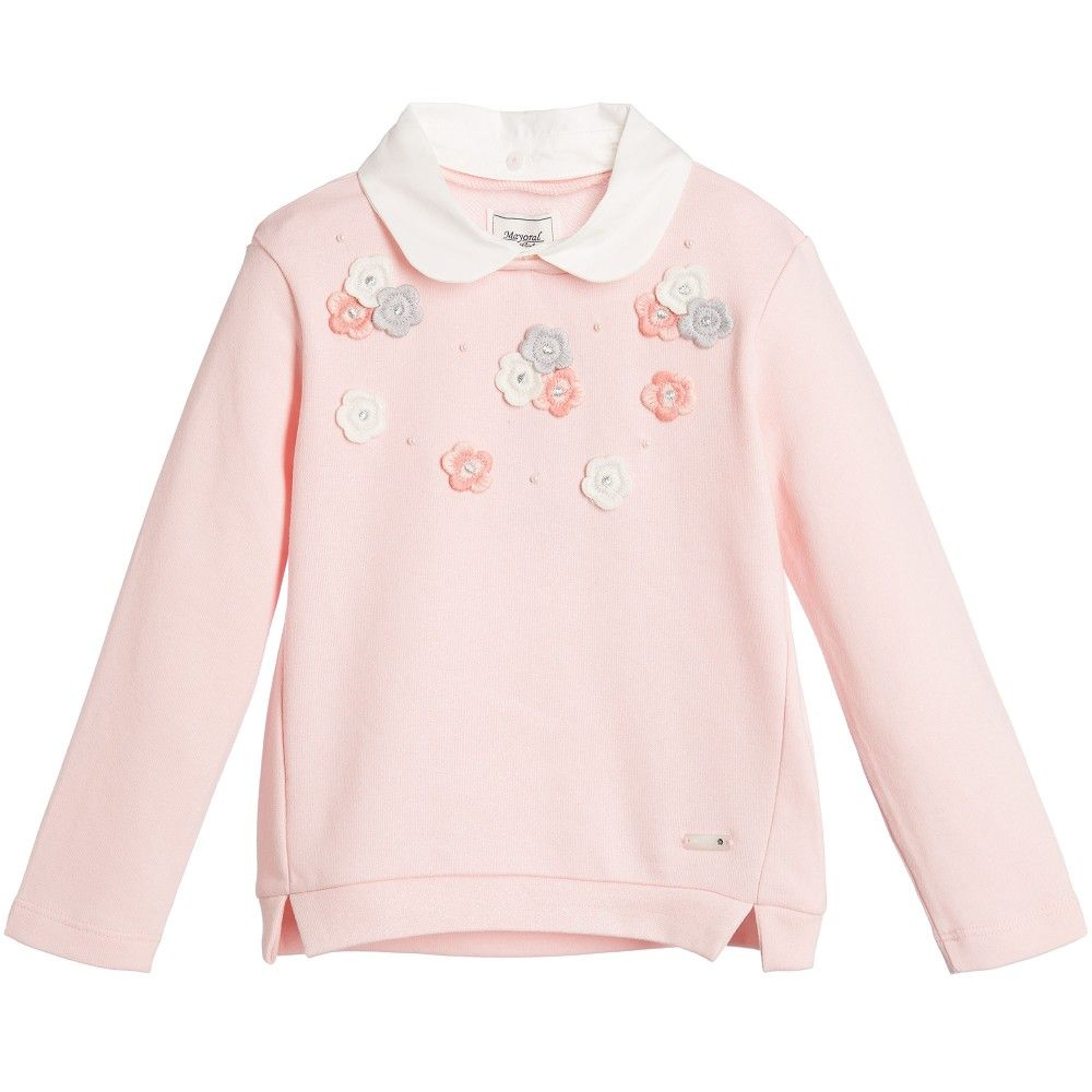 Girls Pink Sweatshirt with Flowers & Collar | Kids clothing