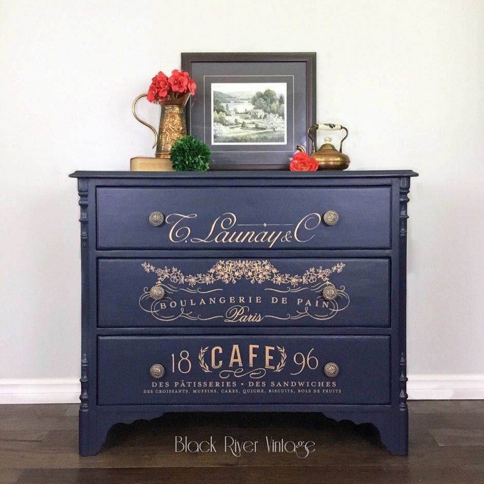 Black River Vintage On Instagram This Antique Dresser Is Elegant Once Again Thanks To Fusionmineralpaint In Midnight Blue And Redesignwithprima Somewher Cafe