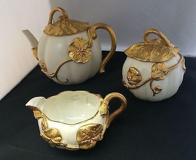 Royal Worcester Pumpkin Tea Set Teapot Creamer Sugar Bowl Ivory Gilded Wedding Anniversary Birthday Collector Gift Antique RARE AS IS