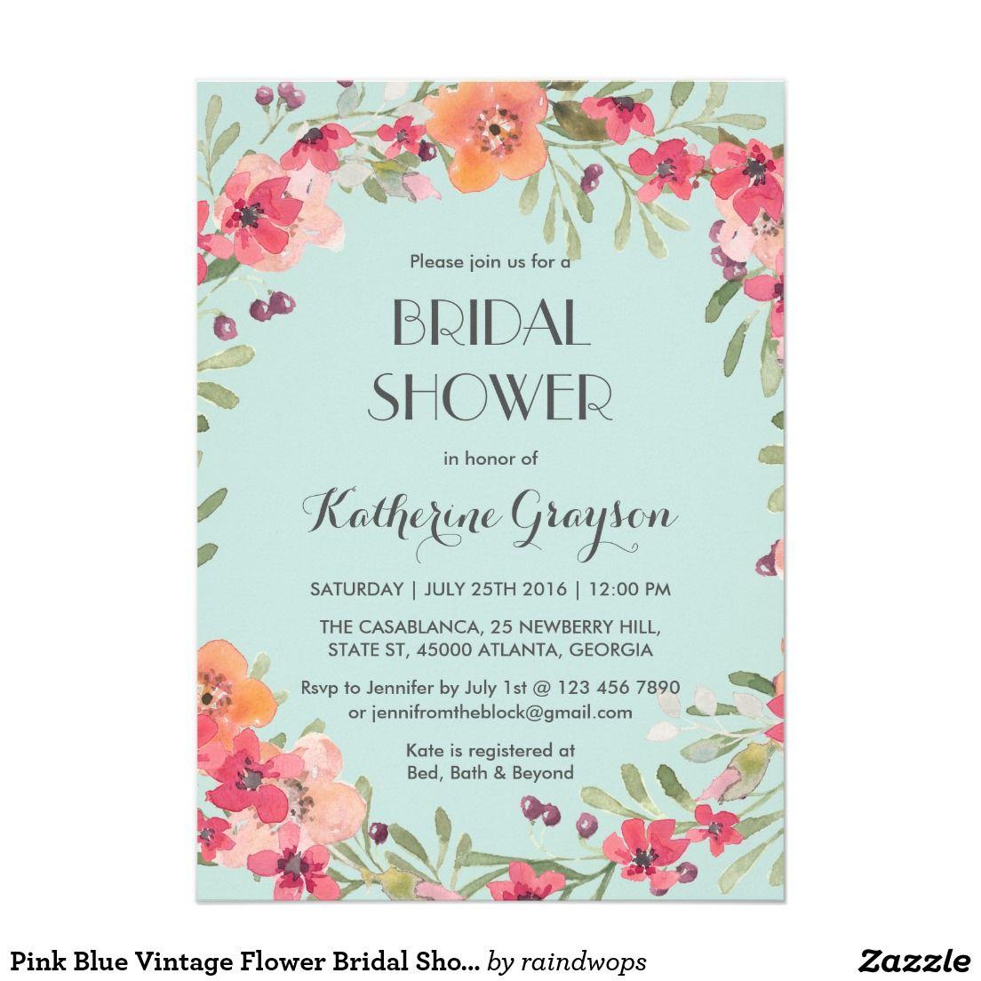 Pink blue vintage flower bridal shower invitation perfect weddings