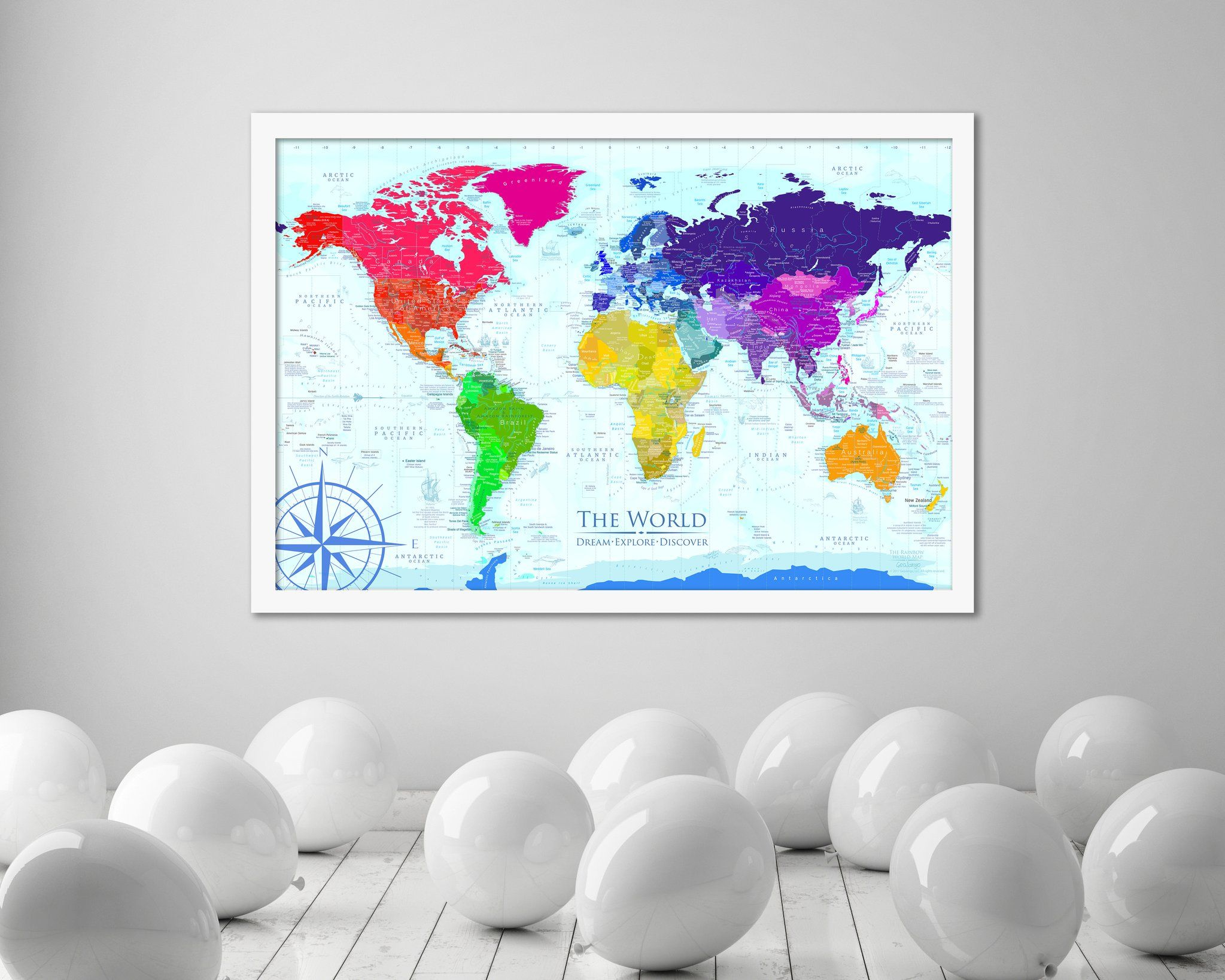 Rainbow world map framed pin board map geojango maps world rainbow world map framed push pin map beautiful and informative the rainbow world map features our world in cheerful rainbow colors with ocean terrain gumiabroncs Choice Image