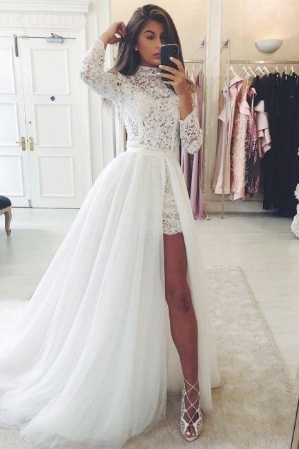 Vestidos de novia de diseñador A line |  Hermosos vestidos de novia con encaje  – Boda