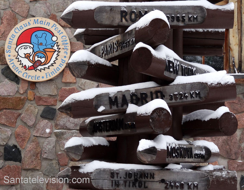 Etäisyyksiä Napapiiriltä (Joulupukin pajakylä, Rovaniemi)