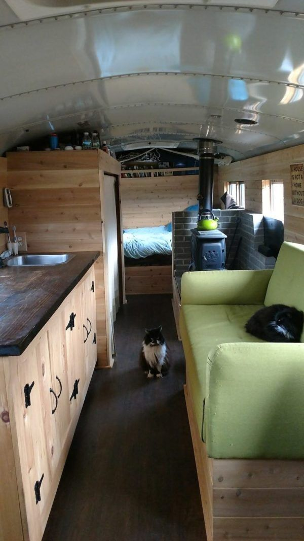203 sq  ft  Off-Grid New Hampshire Skoolie Cabin (For Sale) | tiny