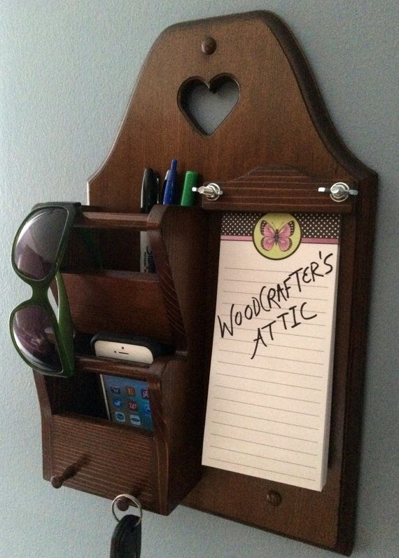 Entryway wood wall organizer for holding keys, cell phones, mail ...