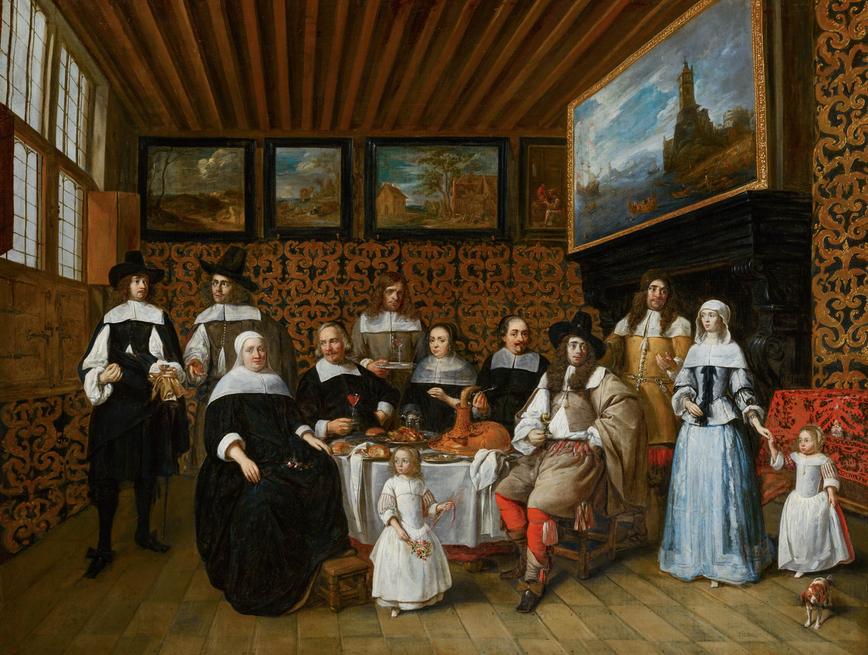 Gillis van Tilborgh Portret van een familie in een kunstkaninet - ca. 1650-'70 Mauritshuis, Den Haag