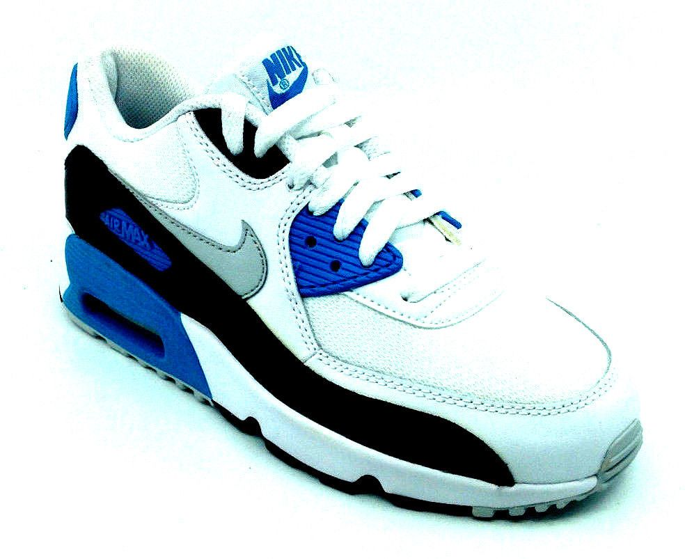 huge discount 28958 d93f1 Nike Air Max 90 Mesh GS OG White Grey Blue Girls Sneaker 833418-