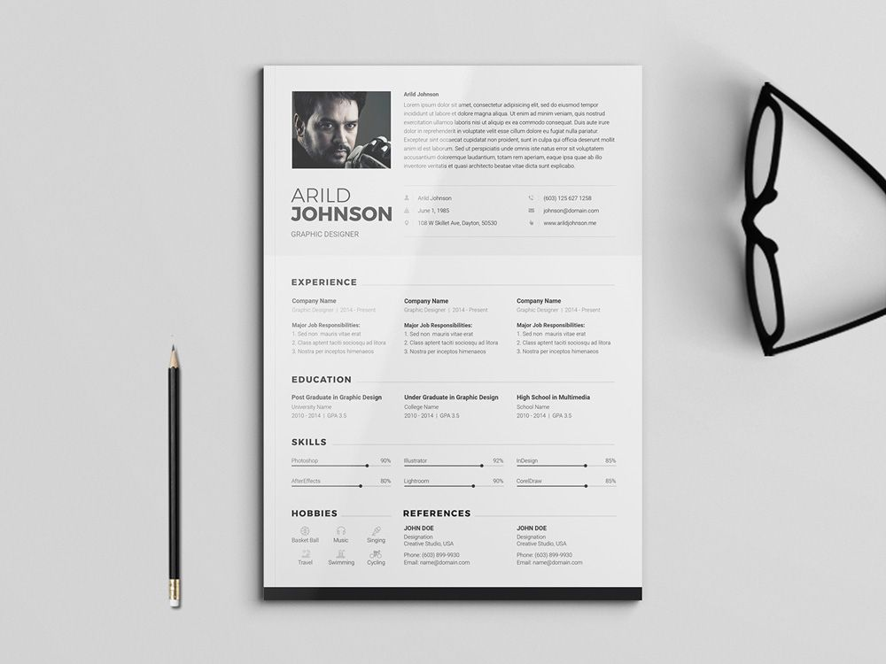 Free clean and modern CV/Resume Template for Any Job Free Resume
