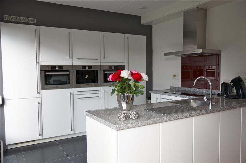 Moderne open keuken de apparatuurwand is praktisch ingericht en