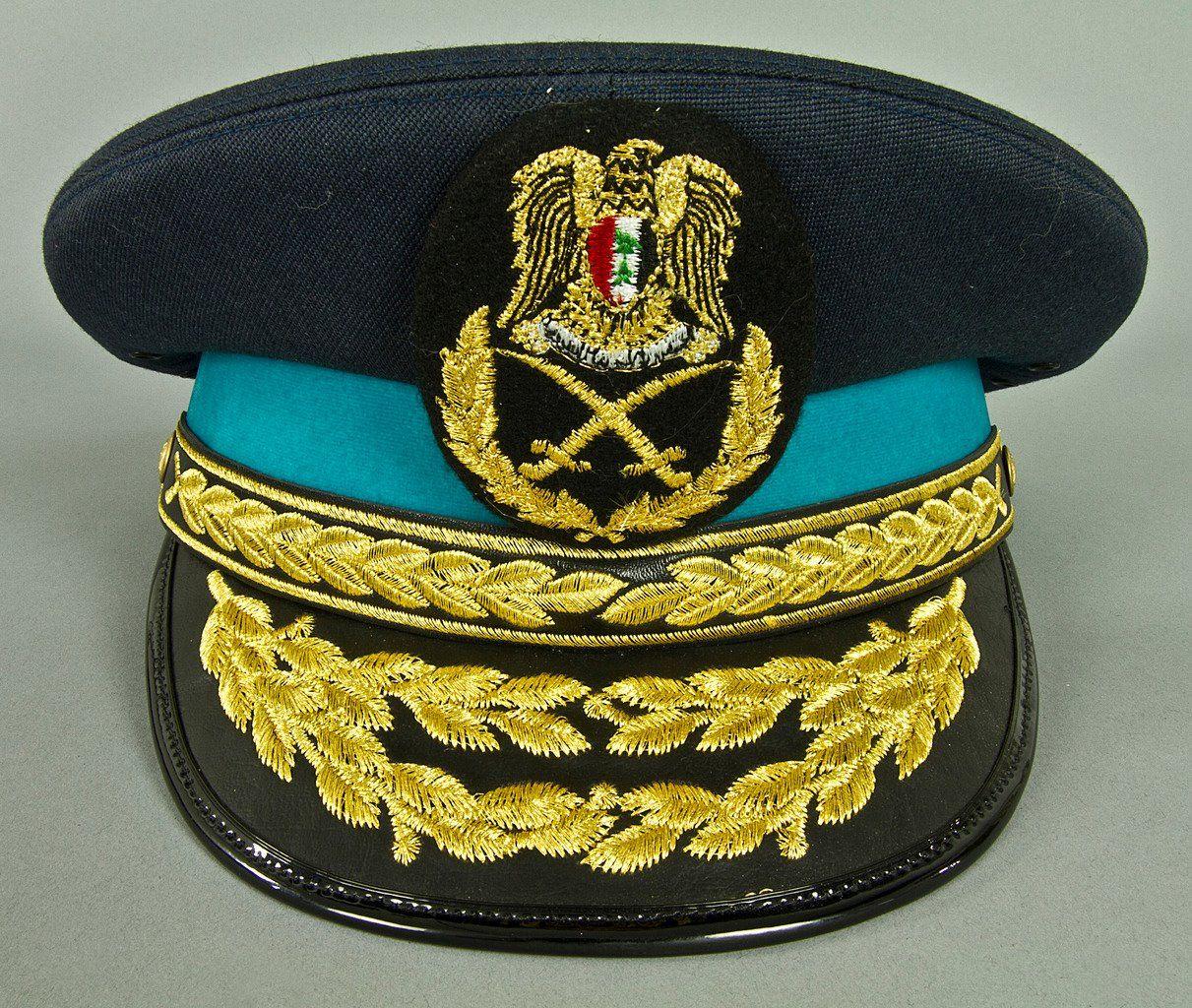 Syrian Arab Air Force general officers  dress uniform visor cap ... f9ef39558f9
