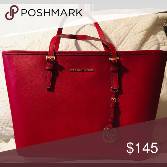 1ac4513961d539 Michael Kors Jet Set Scarlet Red Leather Tote MSRP 278 Brand New with tags Michael  Kors Bags Totes