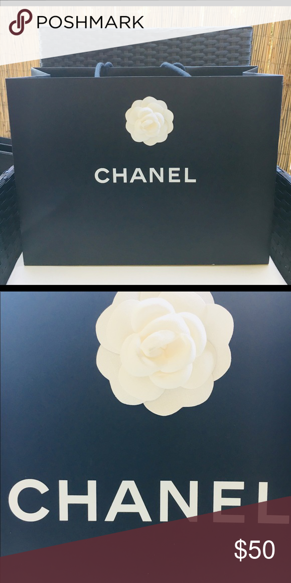 17e9867c68b8 Authentic CHANEL paper gift bag Chanel large paper bag with white Camellia  flower CHANEL Other