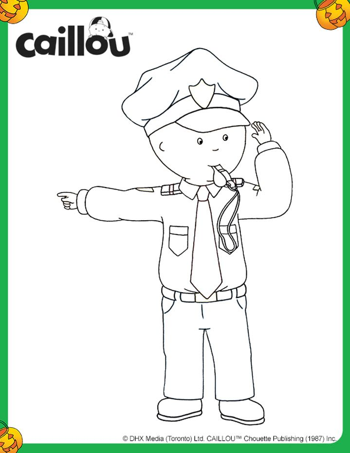 coloriage dhalloween caillou policier - Caillou Gilbert Coloring Pages