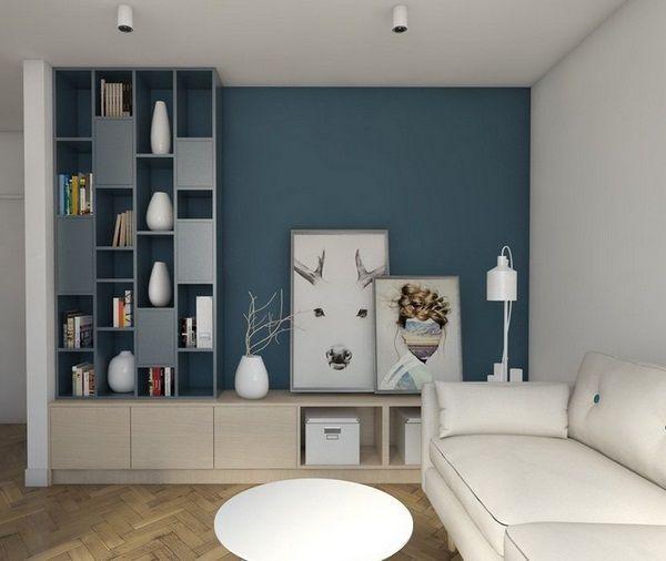 Dco Salon  Mur De Couleur Vivant Bois Brun GrisBleu Canap Blanc
