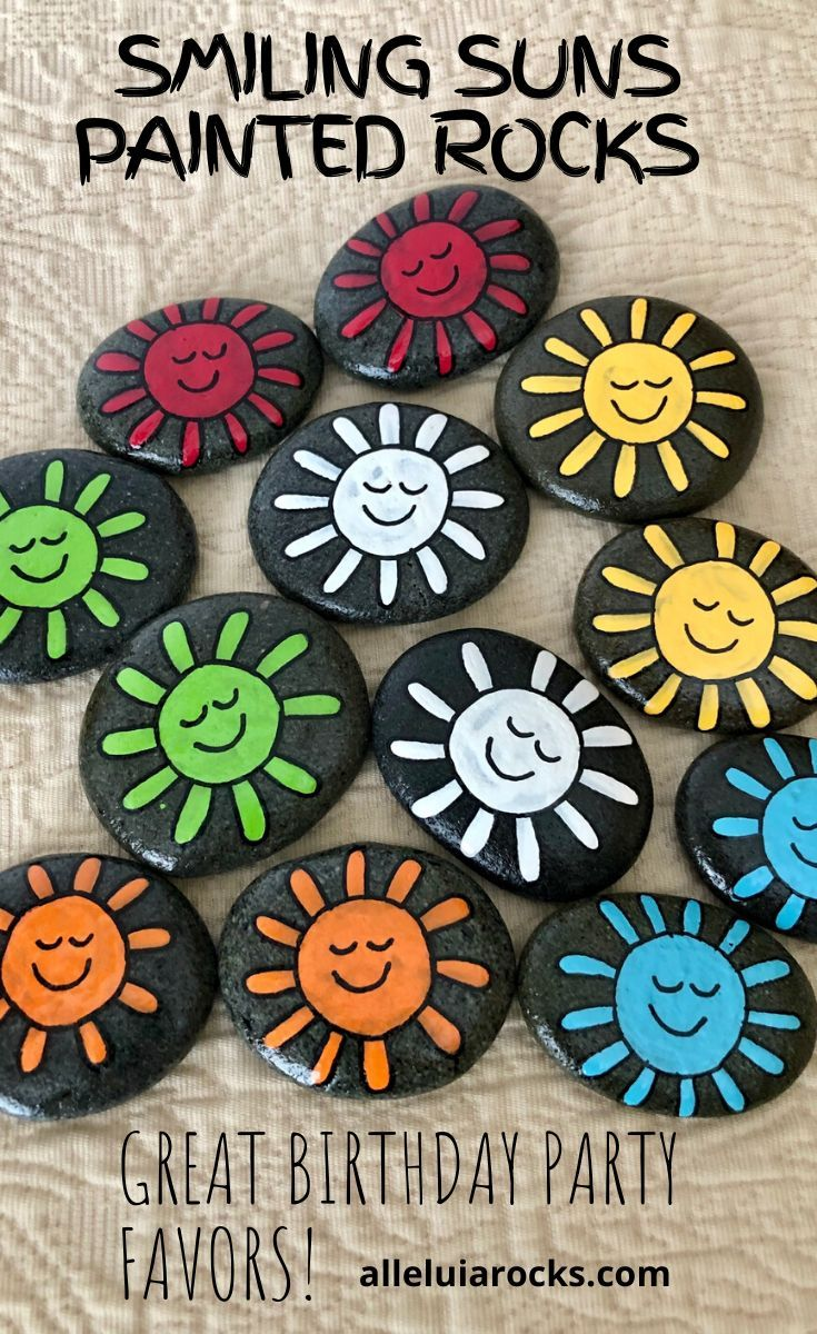Smiling Suns Painted Stones Matching and Sorting Game