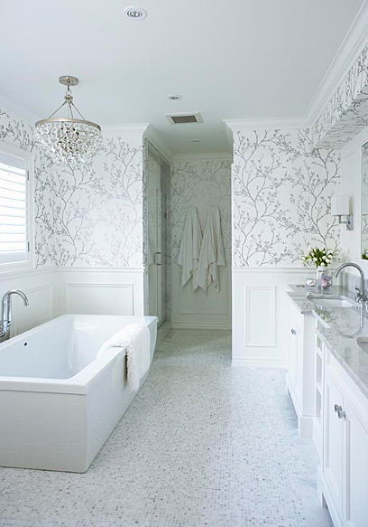 Suzie Jennifer Worts Design Silver Master Bathroom With White