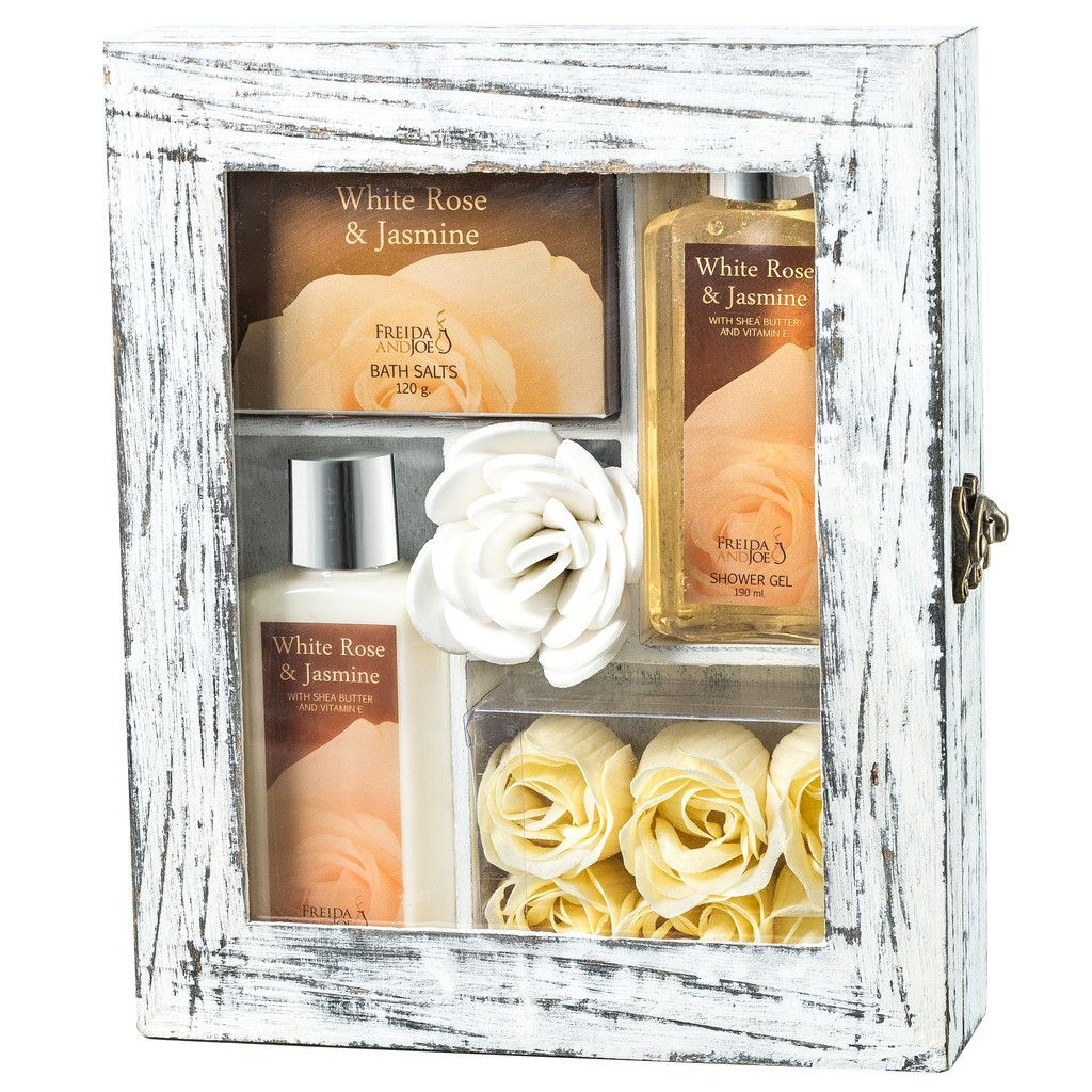White Rose Jasmine Spa Gift Set in Wood Curio Spa gifts