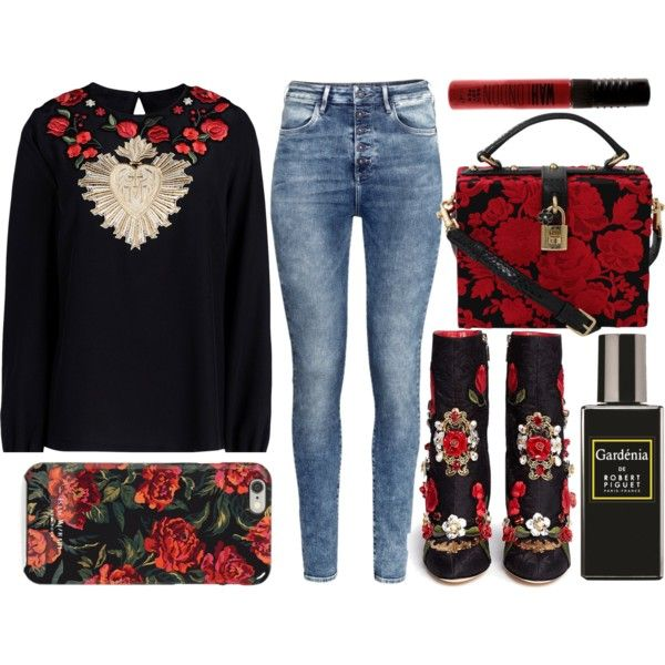 A fashion look from May 2015 featuring Dolce&Gabbana blouses, H&M jeans and Dolce&Gabbana boots. Browse and shop related looks.