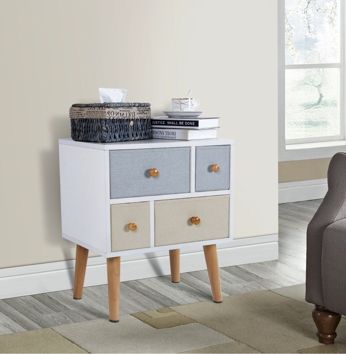 Lifewit Modern Nightstand Side End Table for Bedroom Living Room ...