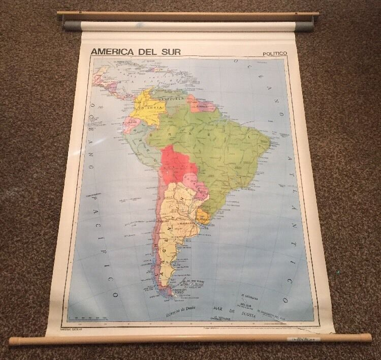 School room used pull down map of america del sur double sided antique pull down maps ebay gumiabroncs Image collections