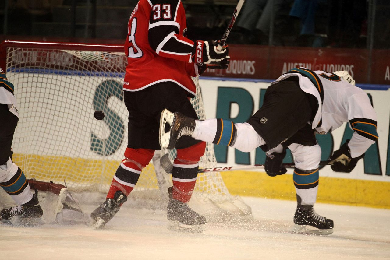 Worcester Sharks rookie forward Brock Higgs attempts to keep his balance after scoring a goal (April 1, 2014).
