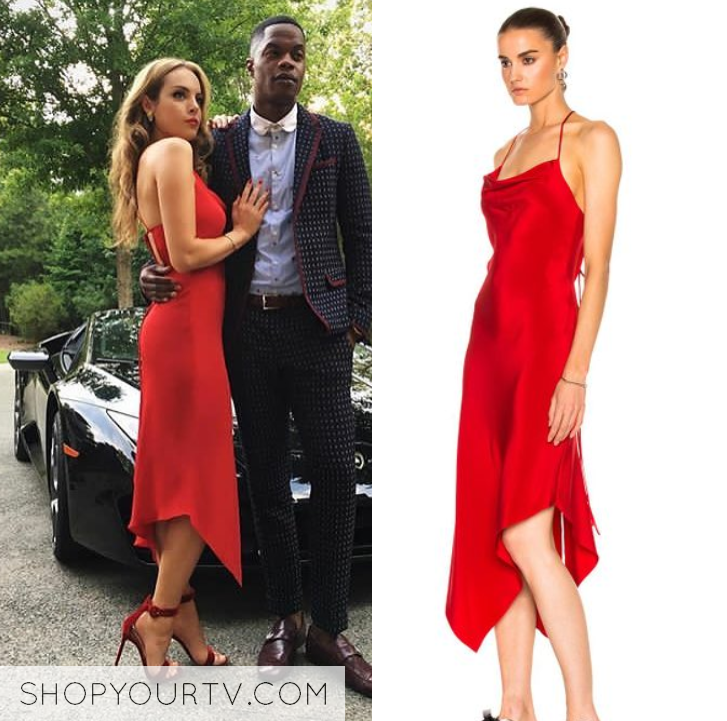 Dynasty Season 1 Episode 2 Fallon S Red Silk Midi Dress Shop Your