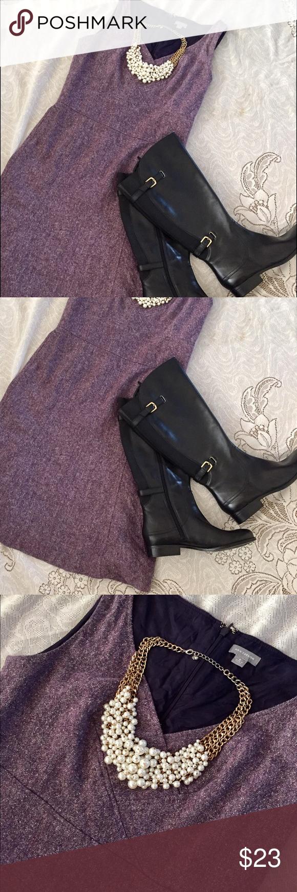 Ann Taylor purple tweed material dress Size 6! Tweed! Super cute ...