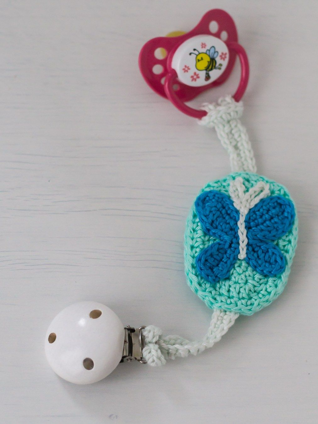 Crochet Butterfly Pacifier Chain A Free Pattern Baby Diy