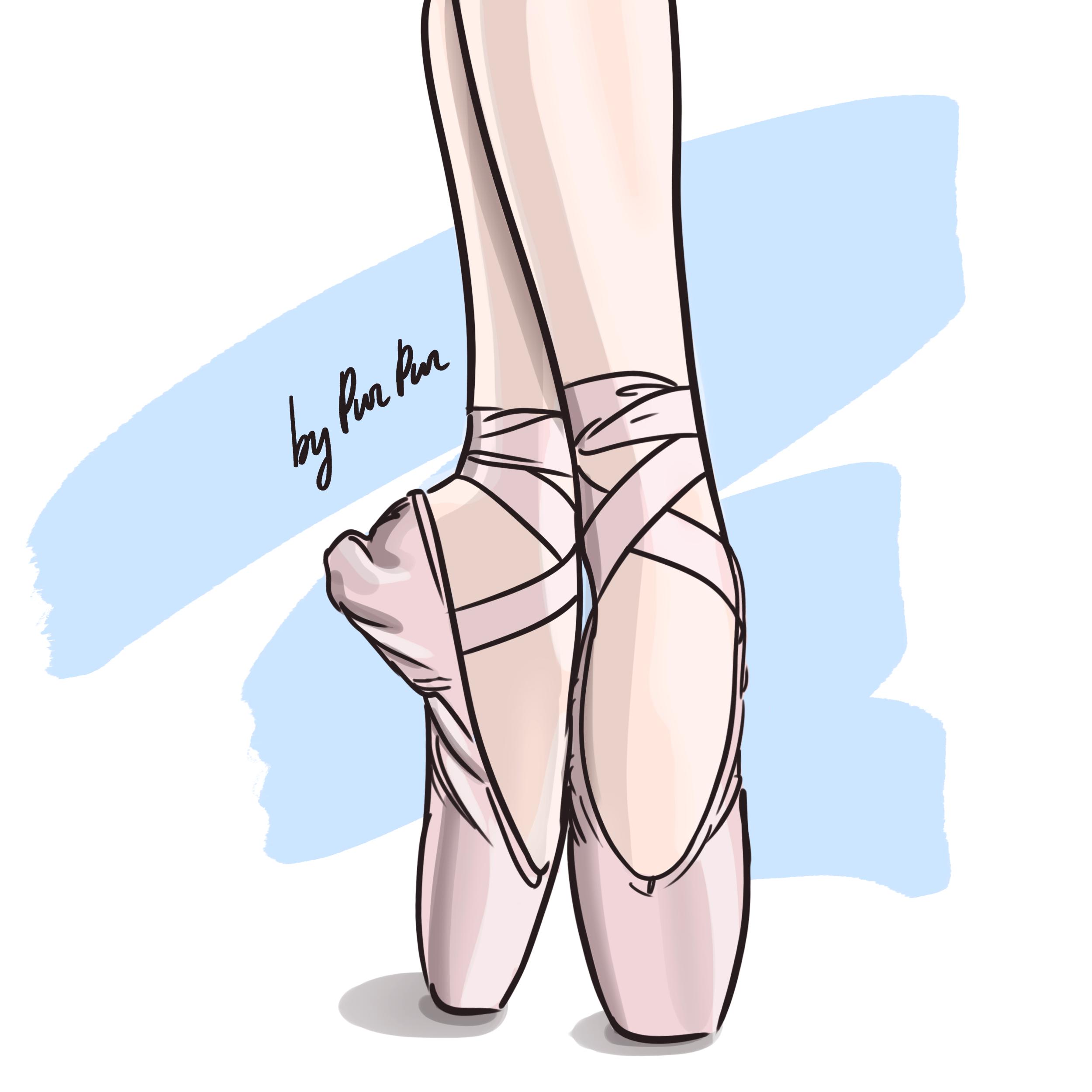 Pointe Illustration By Valentina Romanovskaya Art Illustrator Ballet Ballerina Ballerina Shoes Poin Ballet Shoes Art Ballerina Sketch Shoes Illustration