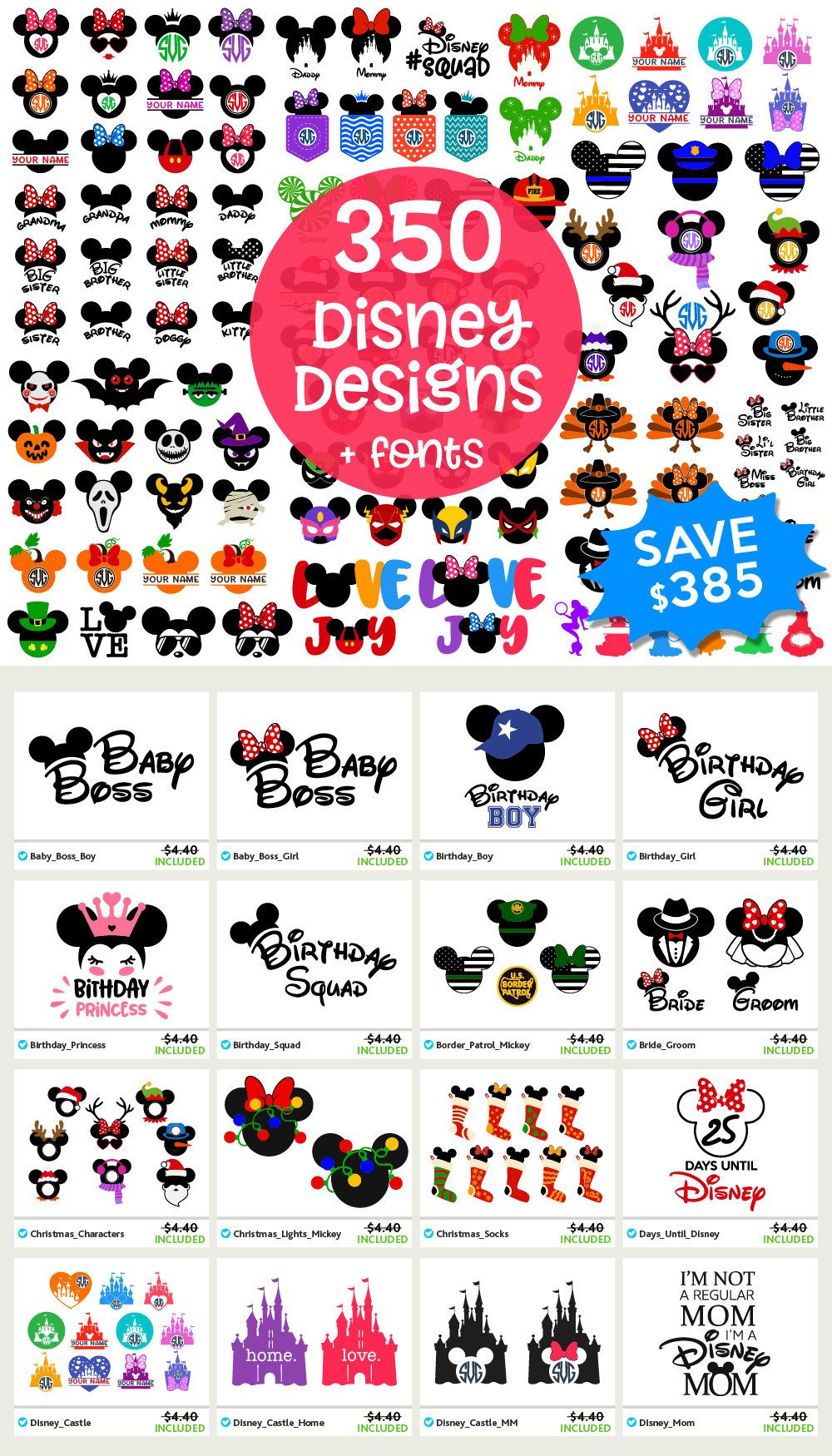 DISNEY Svg Disney Files Svg Disney Bundle Svg Mickey