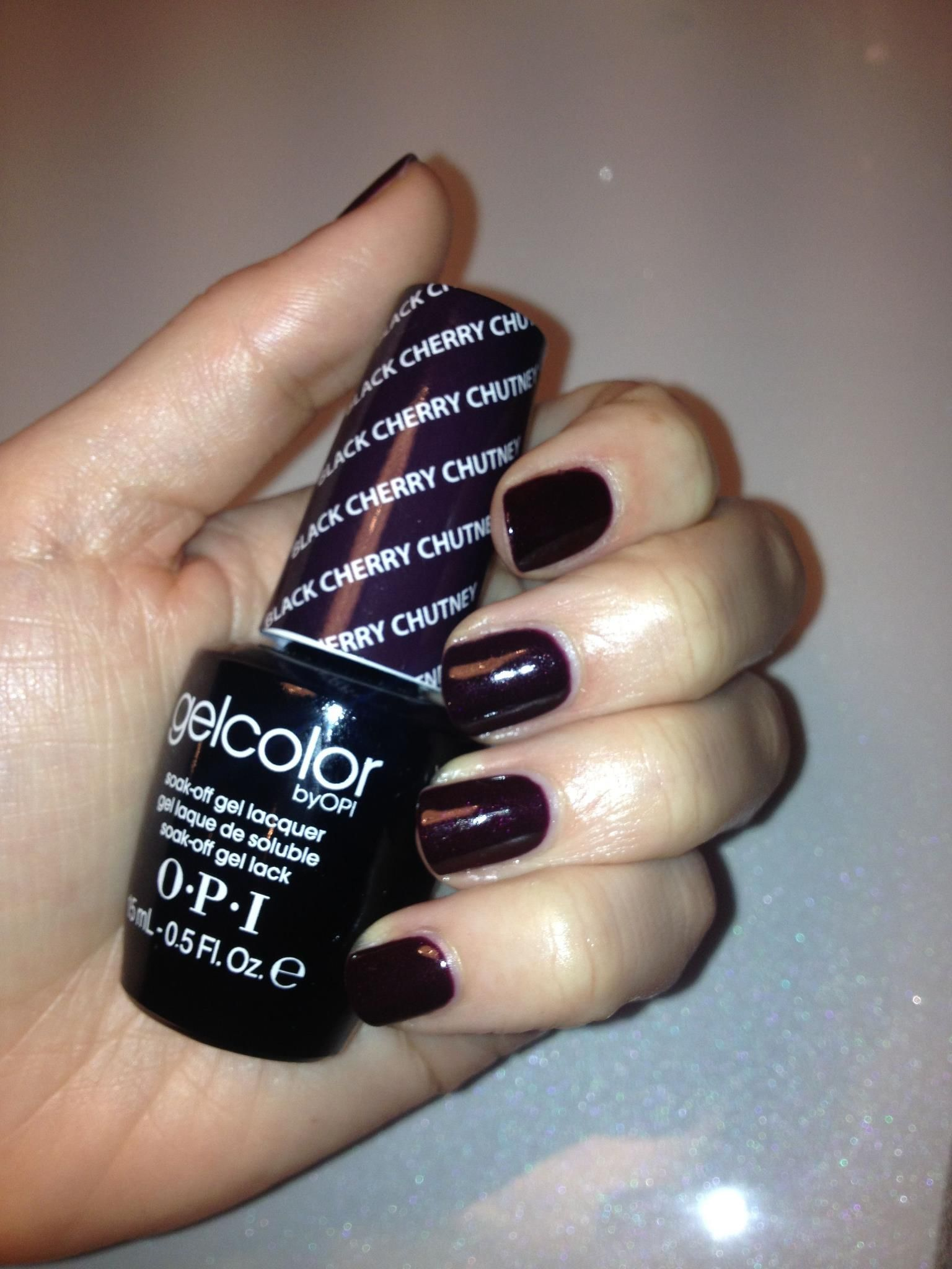 Black Gel Nails With One Silver Glitter Nail: Gelish Black Cherry Berry Swatch GelNails Beauty In 2019 Black
