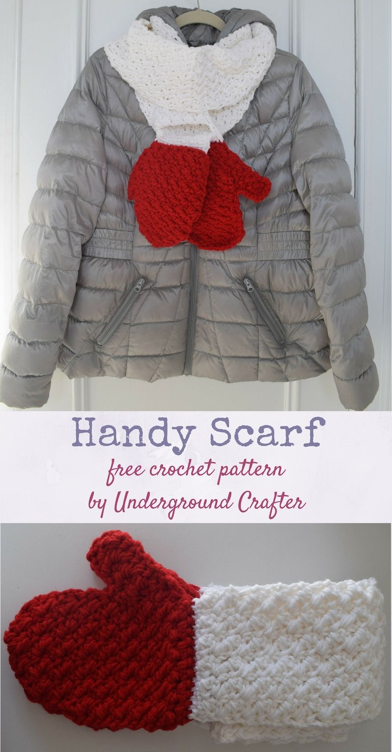 Free Crochet Pattern Handy Scarf In Red Heart Super Saver Yarn