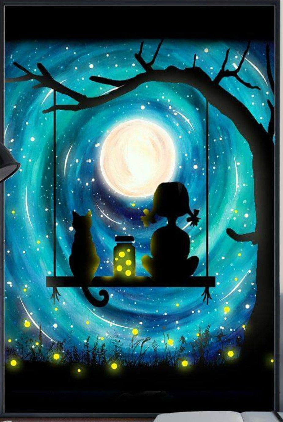 Blue Swirled Moon With Lighting Bugs Cat And Girl Tree