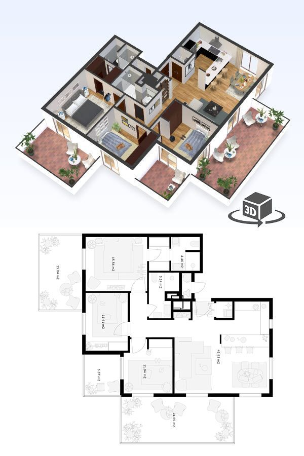 3 Bedroom Apartment Floor Plan In Interactive 3d Get Your Own 3d Model Today At Http Planto3d Co Condo Floor Plans Apartment Floor Plans Bedroom Floor Plans
