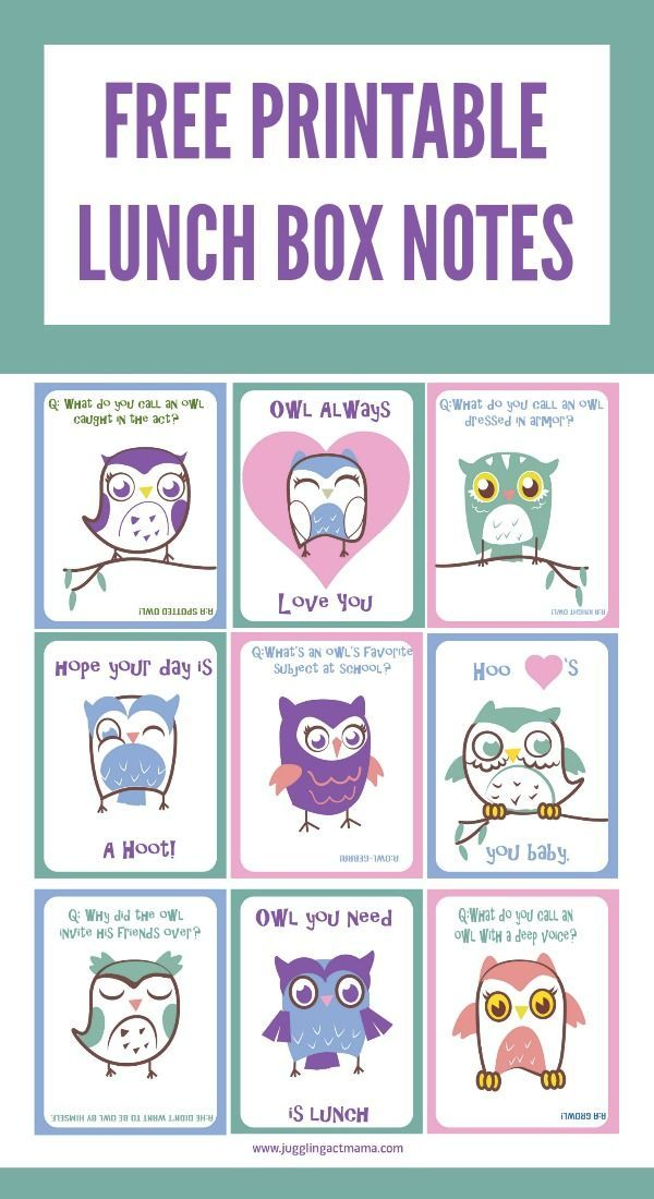 Free Printable Owl Lunch Box Notes images