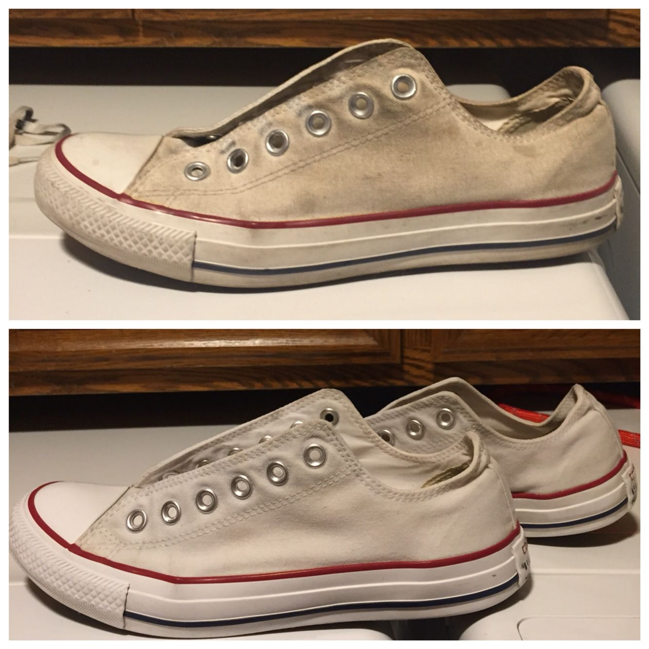cleaning white converse: mix 1 cup of baking soda and 1 & cups of laundry  detergent. soak in cold water then scrub the mix all over the…