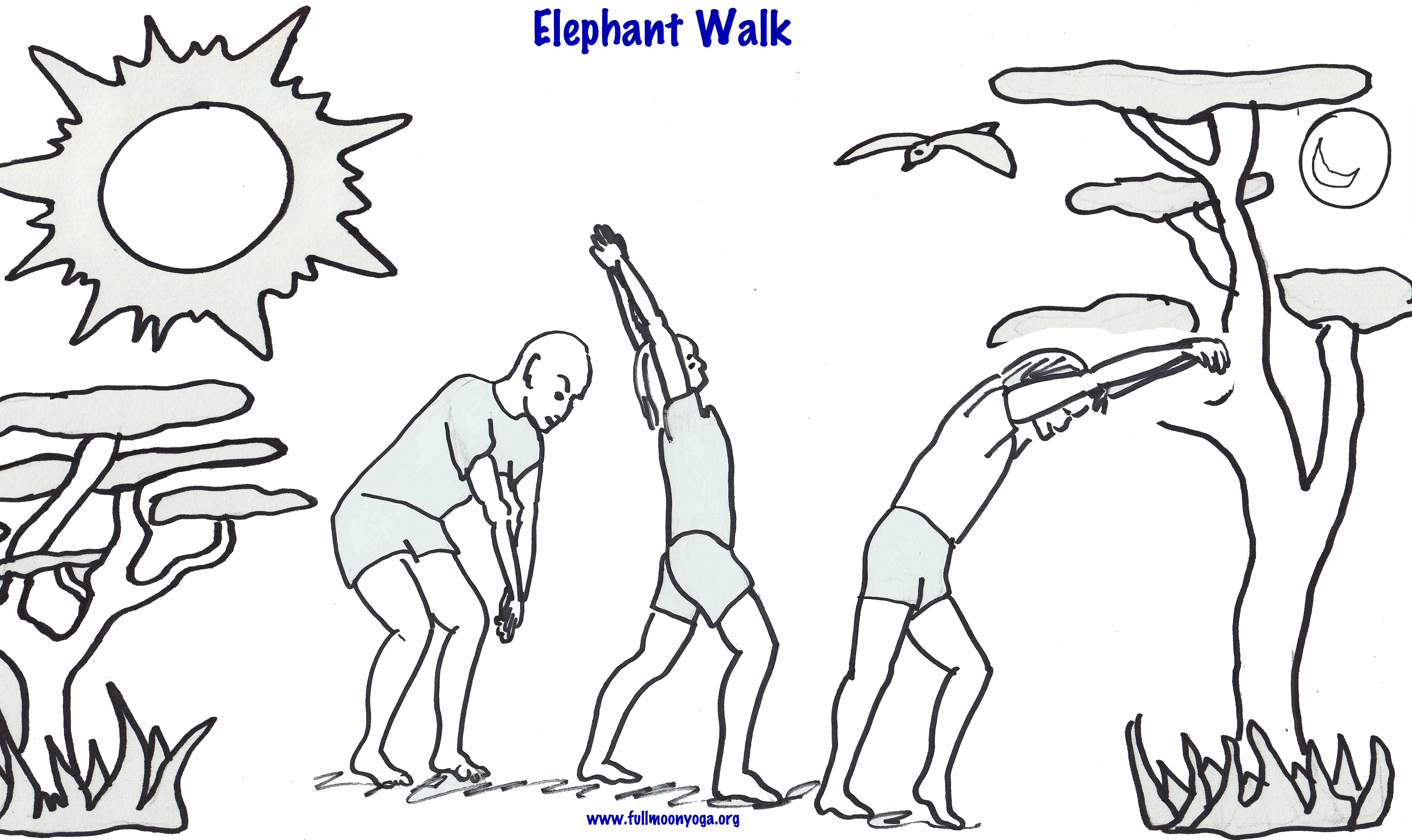 Free coloring pages of elephant yoga   It\'s International Yoga Day ...