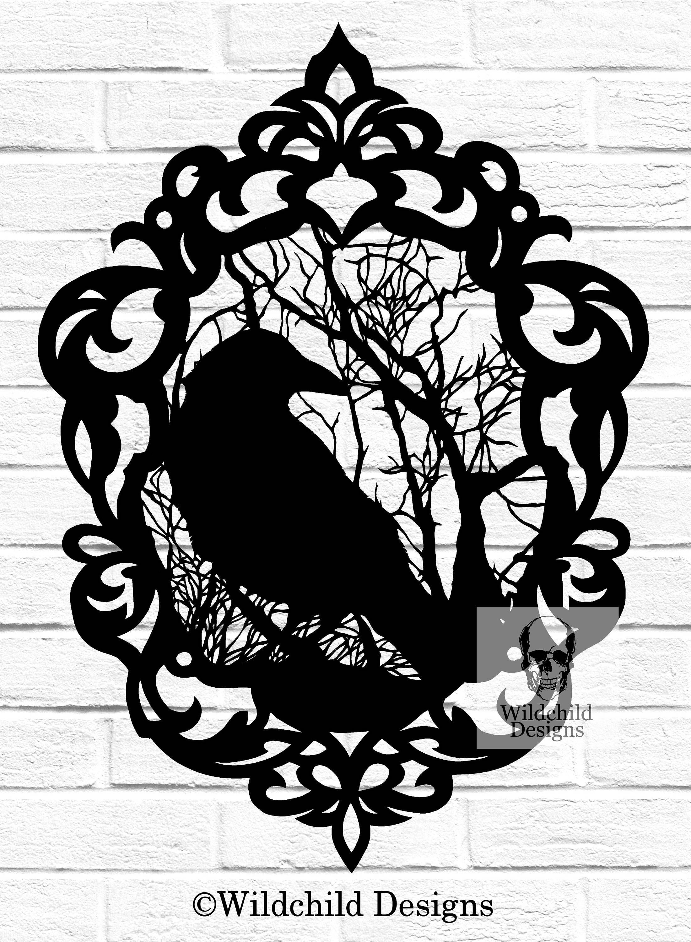 Gothic Cameo Crow Papercutting Template, Vinyl Template