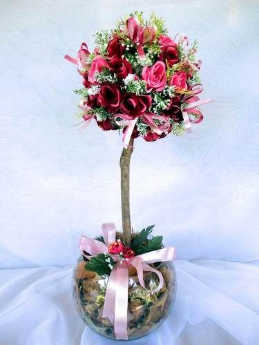 Arranjo Floral Flores Artificiais De Seda Topiaria R 65 00