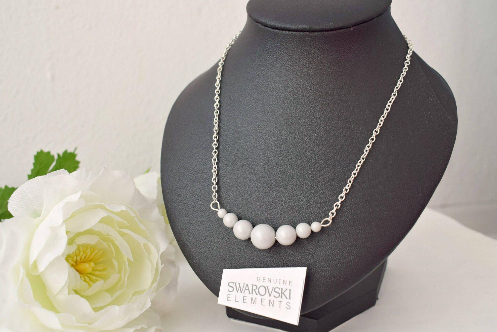 Gray Bar Necklace Pastel Jewelry Pearl Swarovski Crystal Beaded Wedding