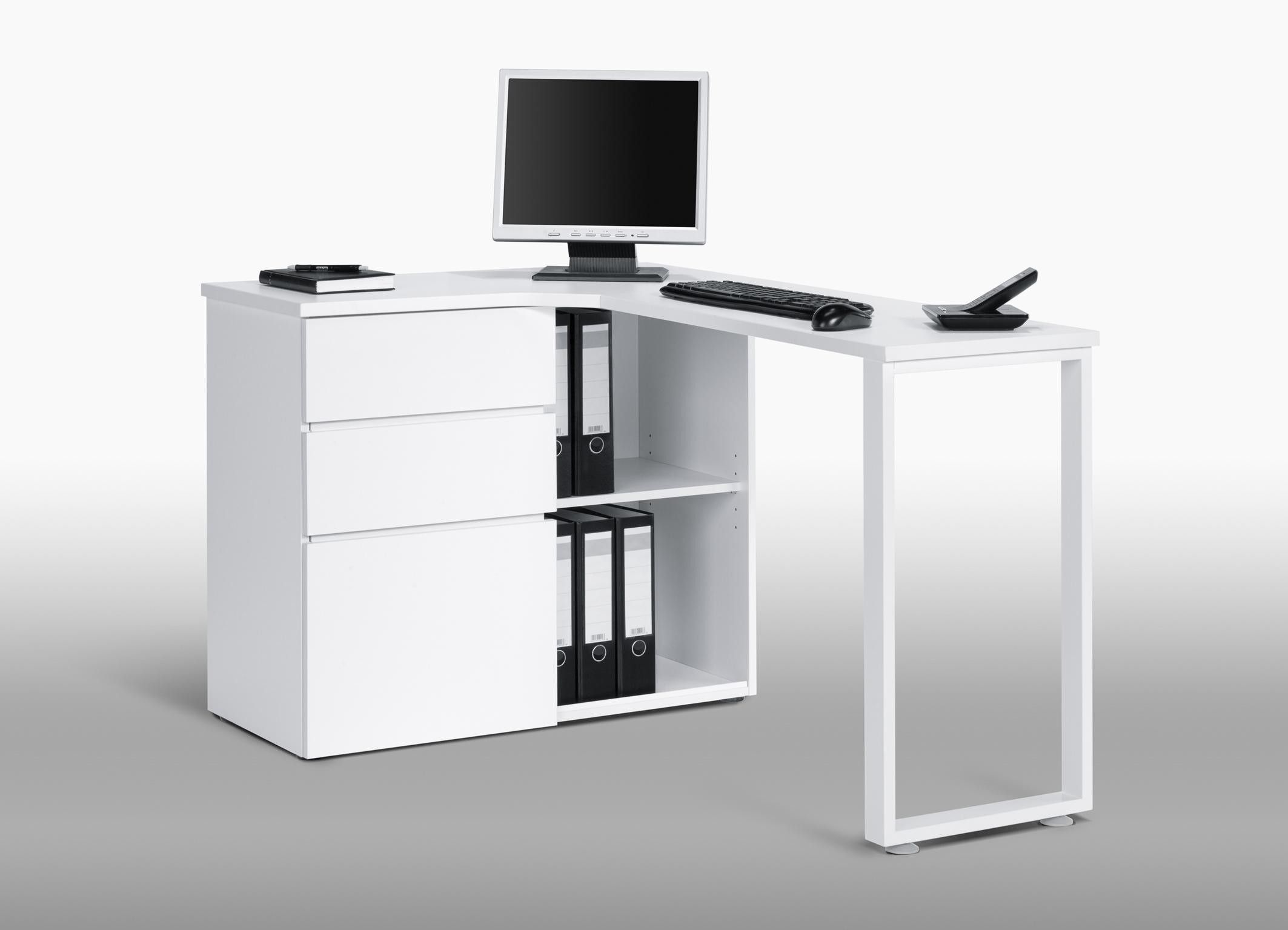 Bureau informatique d 39 angle design avec rangement blanc for Bureau ordinateur but