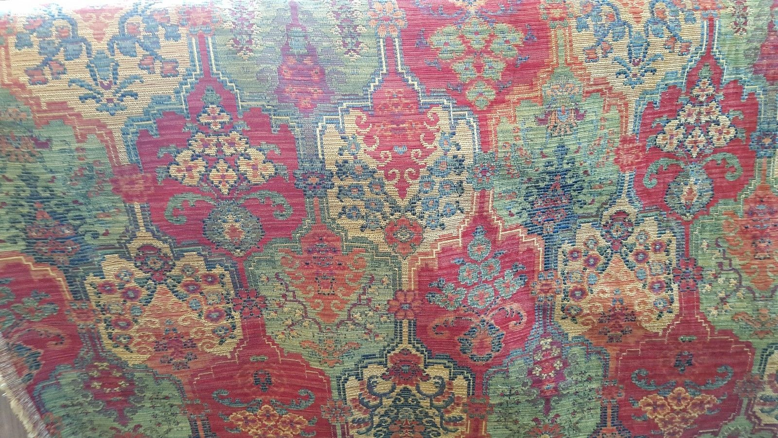 red green blue gold woven medallion tapestry upholstery fabric