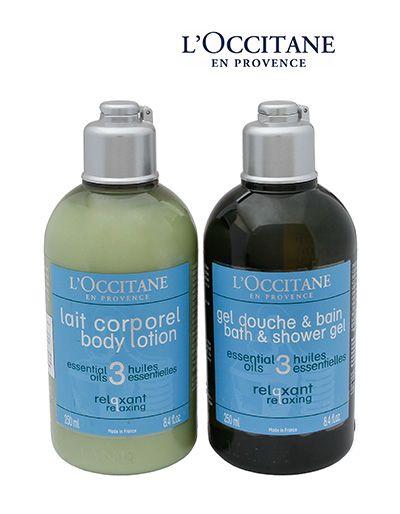 L'OCCITANE: Relaxante Sabonete Líquido + Leite corporal - De R$ 147,00 por R$ 102,90 / PISO ML