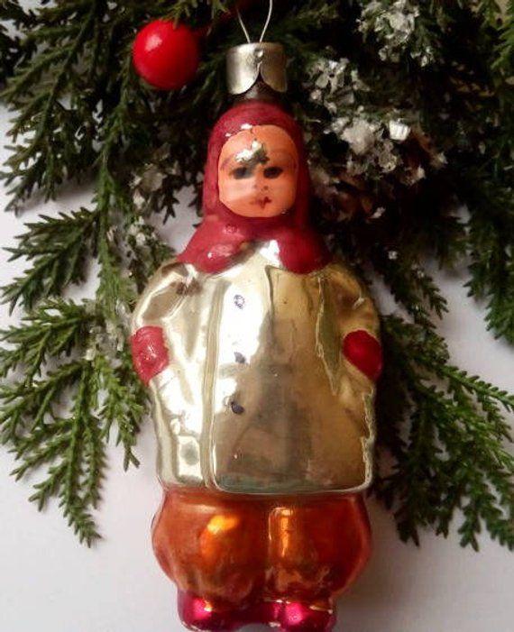 Vintage Christmas Decorations 1950s.Christmas Glass Ornaments Antique Christmas Ornaments 1950s