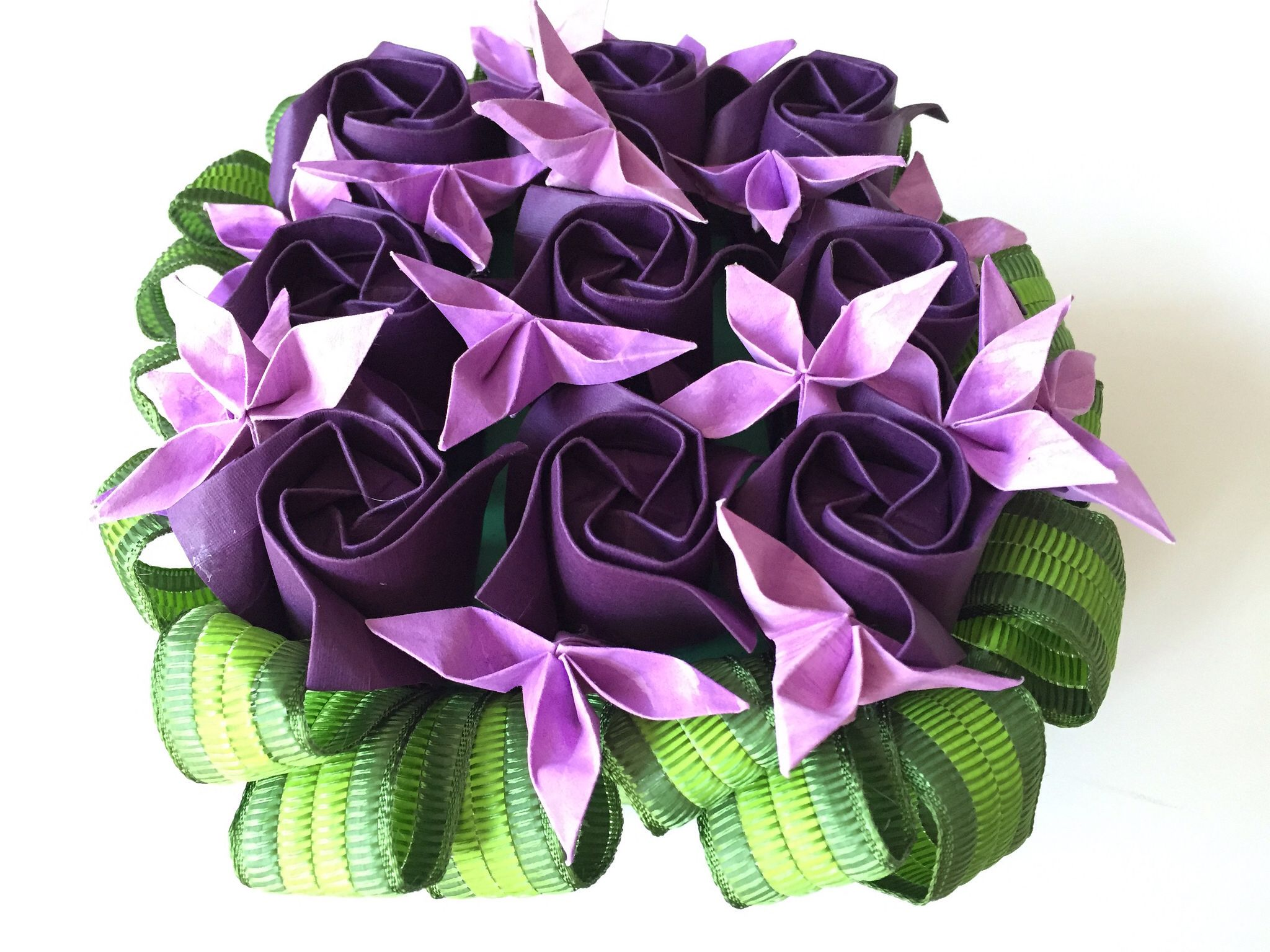 Origami Rose Box With Purple Roses Nlm Origami Passion Rose Boxes