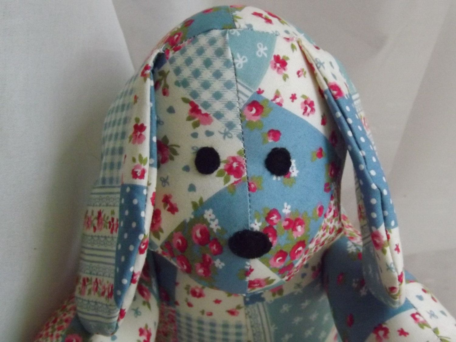Puppy Dog Handmade from Turquoise pre-printed patchwork cotton fabric by ClaresQuiltsnSoftToy on Etsy