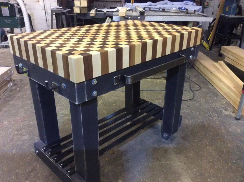 Stunning Handmade Butchers Block Bakers Table Kitchen Island Solid 10cm  Thick Walnut And Maple Top