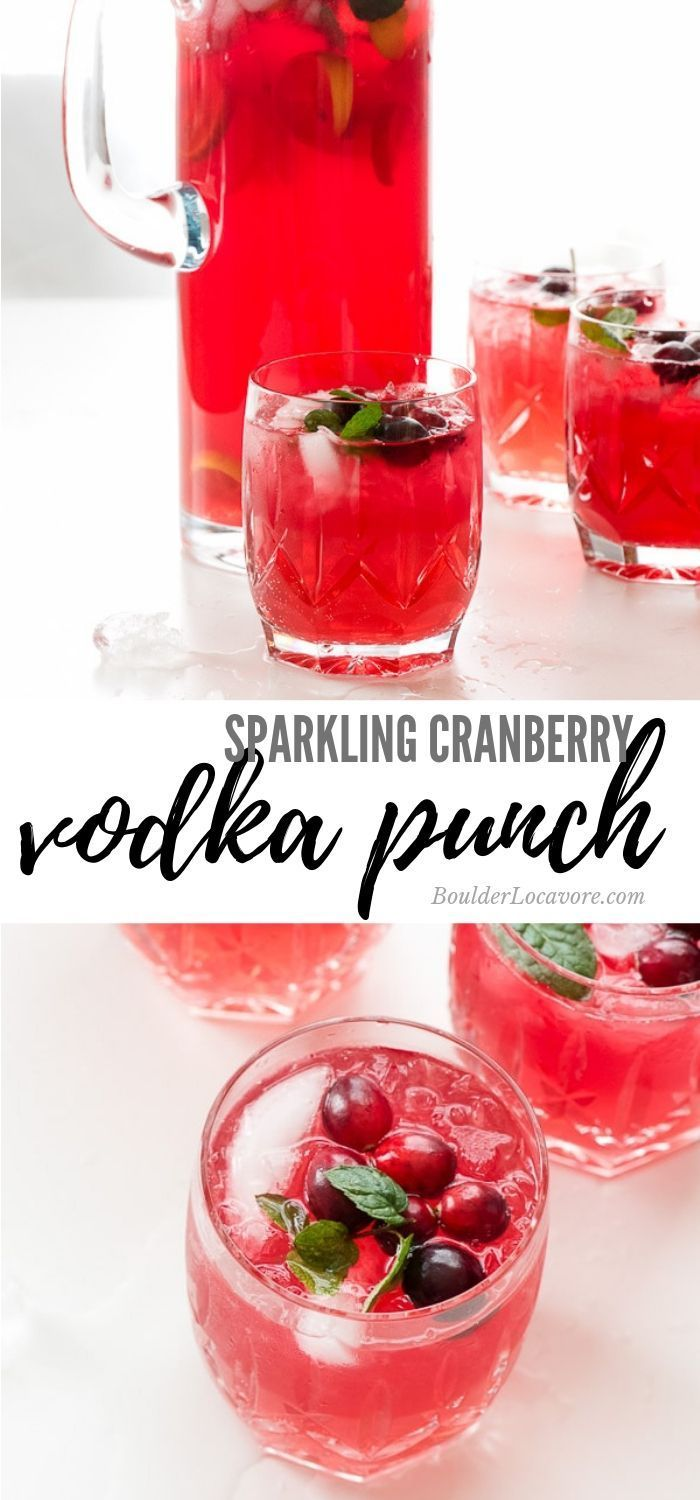 Sparkling Cranberry Vodka Punch is a 4 ingredient punch -   17 holiday Cocktails vodka ideas